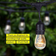 Load image into Gallery viewer, Brightech Ambience Pro - Waterproof Outdoor String Lights - Hanging Industrial 11W Edison Bulbs - 48 Ft Vintage Bistro Lights - Create Great Ambience in Your Backyard, Gazebo - zingydecor