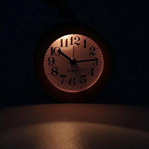 AUDEW Round Wooden Clock,Small Silent Desk Snooze beech Wood Alarm Clock,Handmade Mute Creative Alarm Clock with Nightlight - zingydecor