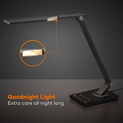 Image of LED Desk Lamp, TaoTronics Stylish Metal Table Lamps, Office Light with USB Charging Port, 5 Color Modes, 6 Brightness Levels, Memory/ Favorite Function, Timer, Night light