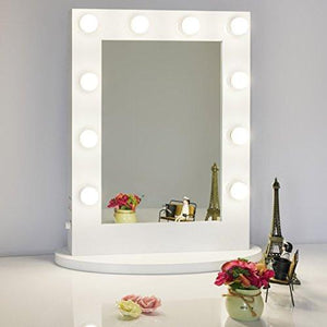 Chende White Hollywood Makeup Vanity Mirror with Light Tabletops Lighted Mirror with Dimmer, LED Illuminated Cosmetic Mirror with LED Dimmable Bulbs, Wall Mounted Lighting Mirror (6550, White) - zingydecor
