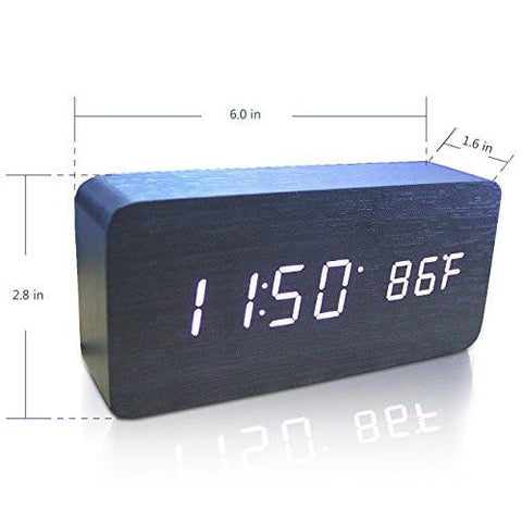 Image of Wooden Digital Alarm Clock, Warmhoming Acoustic Control Clock with Time Temperature and Voice Control (Black)
