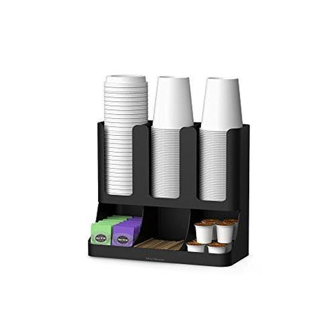 Image of Mind Reader Flume' 6 Compartment Upright Coffee Condiment and Cups Organizer, Black