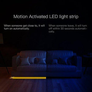 Motion Activated Bed Light kit JACKYLED Warm Soft Glow 4.9ft Flexible USB Waterproof LED Strip Night Light with Automatic Shut Off Sensor for Bedroom Stairs Hallways Cabinet - zingydecor