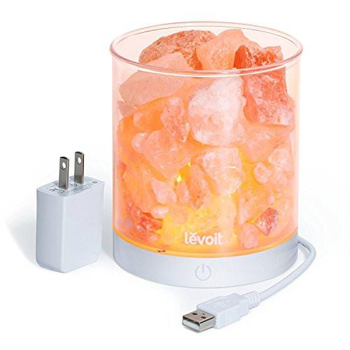 Levoit Cora Himalayan Salt Lamp Natural Glow Pink Sea Crystal Rock Himilian Hymalain Salt Lamps(Portable Design),Touch Brightness Dimmable Control,Levoit Basin Design,UL-Listed Cord,3 Bulbs & Gift Box - zingydecor