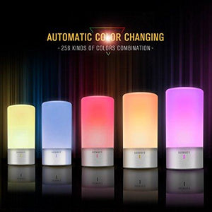 LUWATT Table Lamp, Touch Sensor Bedside Lamp + Dimmable Warm White Light & Color Changing RGB Modern Desk Lamp Nightstand Lamp NIGHTLIGHT Table lamp desk light bedside light led light LED LAMP - zingydecor