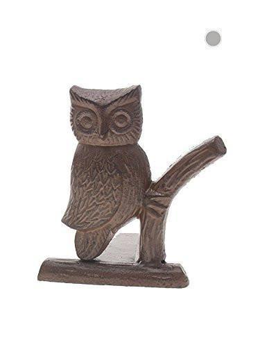 "Cast Iron Owl Door Stop | Decorative Door Stopper Wedge | with Padded Anti-scratch Felt Bottom | Vintage Design | 6x6.5x6.3"" by Comfify (Rust Brown)"