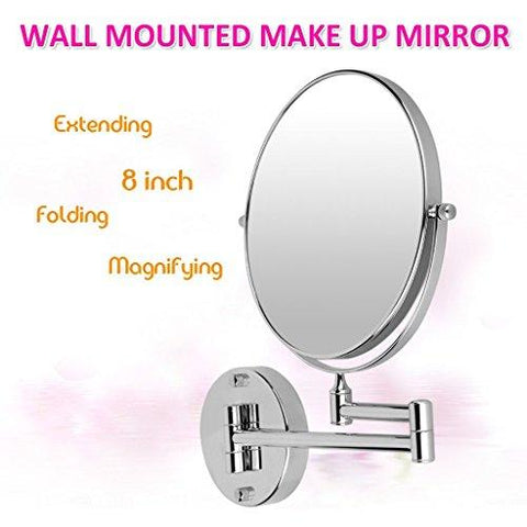 Image of Excelvan 10x Magnification 8 Inch Double-Sided Swivel Wall Mount Makeup Mirror, 12 Inch Extension,...