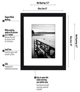 8x10 Black Picture Frame - Made to Display Pictures 5x7 with Mat or 8x10 Without Mat - zingydecor