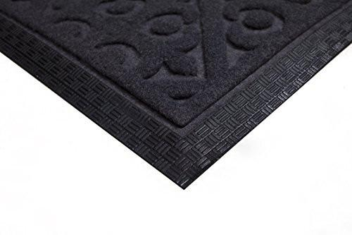 Elogio Door Mat Indoor Outdoor Doormats Outside Effective Scraping of Dirt Patio Grass Moisture Snow Dust and Grit Removal Ideal Low Profile Doormat Front Door Entrance Mat Grey Rug Non Slip Rubber