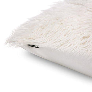 Phantoscope Decorative New Luxury Series Merino Style White Fur Throw Pillow Case Cushion Cover 18
