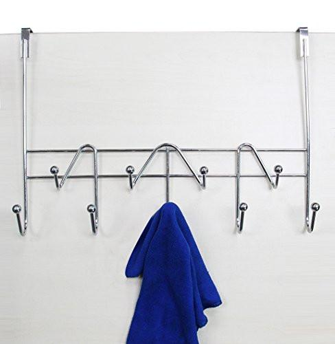 ESYLIFE Hooks Over The Door Hook Organizer Rack Hanging Towel Rack Over Door, 9 Hooks, Chrome Finish - zingydecor
