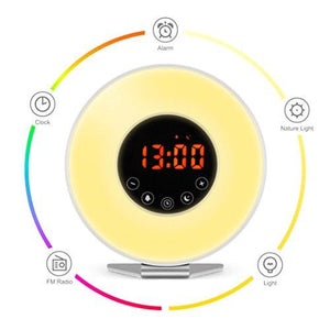 Wake Up Light Alarm Clock – 7 Color Light – Sunrise Simulator With Night Light – With Nature Sounds or FM Radio Alarm – USB Charger – Touch Control – For Heavy Sleepers - zingydecor