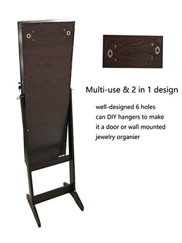Image of Jewelry Organizer Jewelry Armoire,Full Length Mirror Lockable Jewelry Cabinet, with Large Storage Capacity, 3 Angles Adjustable, Brown
