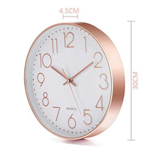 Load image into Gallery viewer, Jeteven 12'' Rose Gold Wall Clock Non Ticking Glow Silent Wall Clock Battery Operated Quartz Round for Indoor Outdoor Living Room Bedroom Kitchen Home Decor White