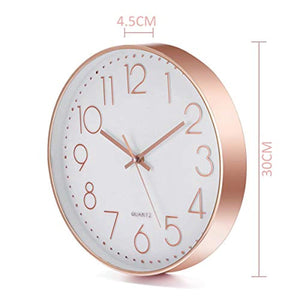 Jeteven 12'' Rose Gold Wall Clock Non Ticking Glow Silent Wall Clock Battery Operated Quartz Round for Indoor Outdoor Living Room Bedroom Kitchen Home Decor White
