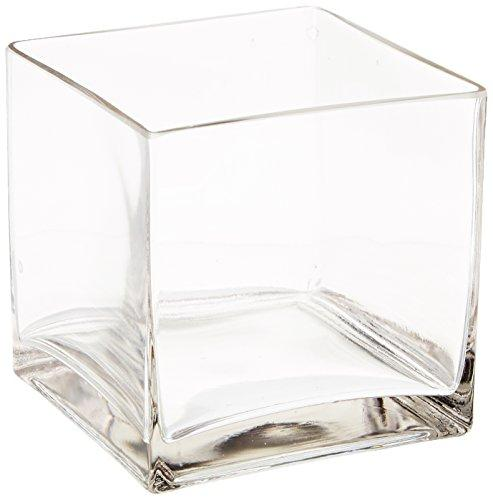 Flower Glass Vase Decorative Centerpiece For Home or Wedding by Royal Imports - Clear Glass, Cube Shape, 5