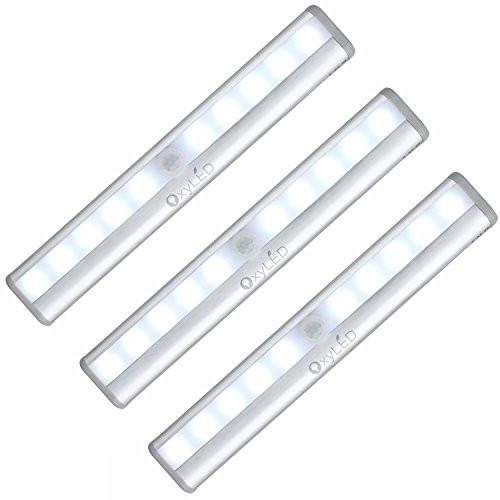 OxyLED Motion Sensor Closet Lights,Cabinet Light,DIY Stick-on Anywhere Portable Wireless 10 LED Wardrobe/Stairs/Step Light Bar,LED Night Light,Safe Lights with Magnetic Strip (3 Pack,Battery Operated) - zingydecor