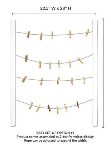 Reimagine Hanging Photo Display- Wood Wall Picture Frame Collage for Hanging and Organizing Prints, Instax, Photos, Artwork- Display 2 Ways with Adjustable Rope and 40 Gold Clothespin Clips-White