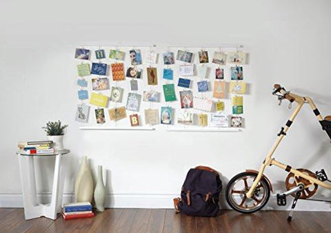 Umbra Hangit Photo Display - DIY Picture Frames Collage Set Includes Picture Hanging Wire Twine Cords, Natural Wood Wall Mounts and Clothespin Clips for Hanging Photos, Prints and Artwork