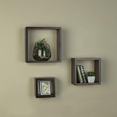 Melannco Square Wood Shelves, Set of 3, Espresso