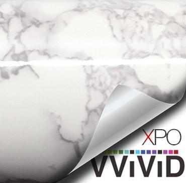 "VViViD XPO White Grey Marble Gloss Vinyl Film Contact Paper 15.9"" x 6.5ft Roll (1 roll)"