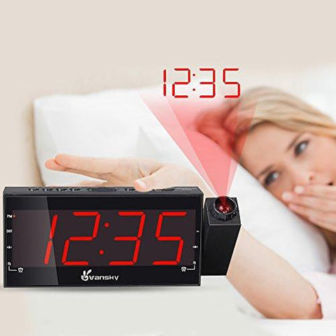 "Vansky Digital Projection Alarm Clock Radio With Dimmer, 1.8"" LED Display, USB Charging, Dual Alarm, SNOOZE, Battery Backup"