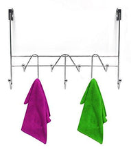 Load image into Gallery viewer, ESYLIFE Hooks Over The Door Hook Organizer Rack Hanging Towel Rack Over Door, 9 Hooks, Chrome Finish - zingydecor