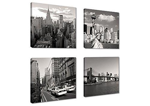 Canvas Print for Home Decoration 4 Panels New York City Landmark Painting Wall Art Picture Print on Canvas - High Definition Modern Giclee Artwork - zingydecor