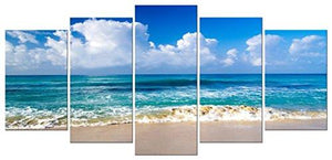 Pyradecor Seaside Modern Stretched and Framed Seascape 5 panels Giclee Canvas Prints Artwork Landscape Pictures Paintings on Canvas Wall Art for Home Decor - zingydecor