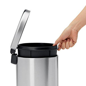 simplehuman Mini Round Step Trash Can, Stainless Steel, 4.5 L / 1.2 Gal - zingydecor