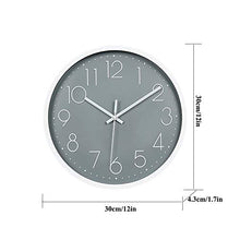 Load image into Gallery viewer, JUSTUP 12in Non-Ticking Wall Clock, Silent Battery Operated Wall Clock with ABS Frame HD Glass Cover for Kids Living Room Bedroom Kitchen School Office Decor (Gray)