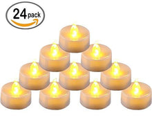 Pack of 24 Flameless LED Tea Light, Amber Yellow Flickering Bulb, Long Lasting Battery Operated Electric votive candle, Realistic and Bright Faux tealights Dia 1.4 - zingydecor