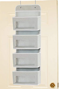 Simplehouseware Over Door/Wall Mount 4 Clear Window Pocket Organizer, Gray - zingydecor