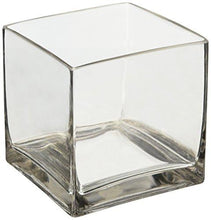 "Load image into Gallery viewer, 6"" Square Glass Vase - 6 Inch Clear Cube Centerpiece - 6x6x6 Candleholder - zingydecor"