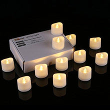 Load image into Gallery viewer, Homemory Realistic and Bright Flickering Bulb Battery Operated Flameless LED Tea Light for Seasonal & Festival Celebration, Pack of 12, Electric Fake Candle in Warm White and Wave Open - zingydecor