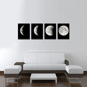 Modern Giclee Canvas Prints Stretched Artwork Abstract Space Black and White Pictures to Photo Paintings on Canvas Wall Art for Home Office Decorations Wall Decor 4pcs/set P4RAB018 - zingydecor