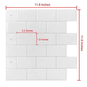 "10-Sheets Peel and Stick Tile for Kitchen Backsplash, 12""x12"" White Subway Tile with Grey Grount - zingydecor"