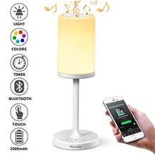 Load image into Gallery viewer, Marrado Bluetooth Speakers + Bedside Lamp, Night Light, Smart Touch Control Table Lamp for Bedroom Living Room, Portable Rechargeable LED Desk Lamp, Dimmable Warm White & Color Changing - zingydecor