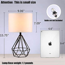 "Load image into Gallery viewer, SOTTAE Black Hollowed Out Base Modern Lamp Bedroom Livingroom Beside Geometric Table Lamp, 16"" Desk Lamp With White Fabric Shade(Set of 2) - zingydecor"