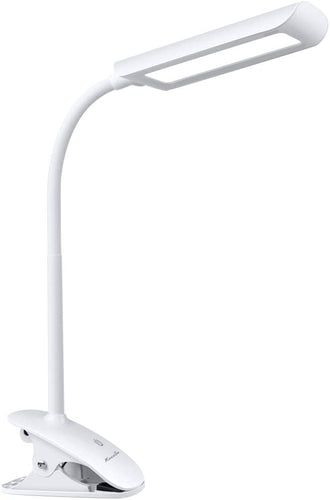 7W Dimmable LED Clip on Lamp, Flexible Gooseneck Clip on Reading Light with 3-Level Dimmer, Touch-Sensitive Control Panel, Clamp Lamp for Desk