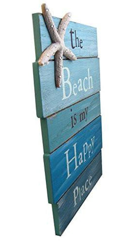 "Image of The Beach Is My Happy Place - Plank Board Sign with Starfish and Rhinestone Accents 12"" X 9"""