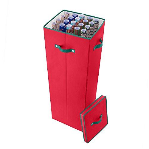 40 in. Tall Wrapping Paper Storage Box in Red