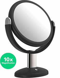 Vremi 10x Magnified Vanity Mirror - 7 Inch Round Makeup Cosmetic Mirror for Bathroom or Bedroom Table Top - Portable Double Sided Glass Mirror Stand with 360 Degree Swivel - Black - zingydecor