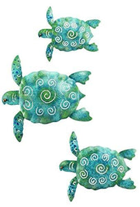 Regal Art & Gift Sea Turtle Beach Ocean Summer Metal Wall Art (3-Piece) - zingydecor