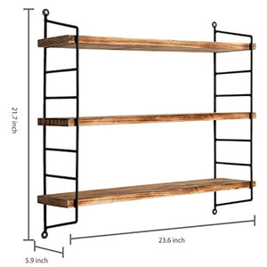 MyGift Modern Industrial Metal & Torched Wood Adjustable Wall Mounted 3-Tier Shelf - zingydecor
