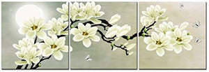 White Magnolia & Butterfly Under the Moon Modern Giclee Canvas Prints Paintings to Photo Printed Artwork for Wall Decor