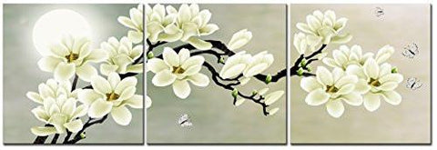 Image of White Magnolia & Butterfly Under the Moon Modern Giclee Canvas Prints Paintings to Photo Printed Artwork for Wall Decor