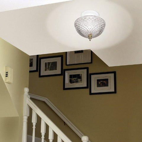 Image of Clip-on Light Shade - Diamond Cut Acrylic Dome Lightbulb Fixture - 7 3/4""