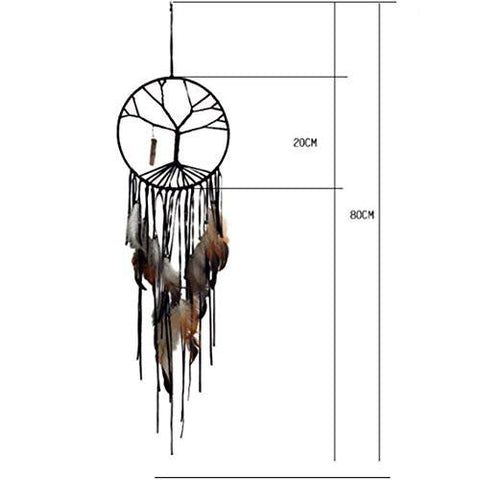 Image of Handmade Beaded Feather Natural Stone Hanging The Tree of Life Dream Catcher Home Decor