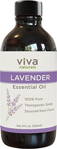 Image of Viva Naturals French Lavender Essential Oil, 4 fl oz - 100% Pure & Therapeutic Grade for Relaxation,...